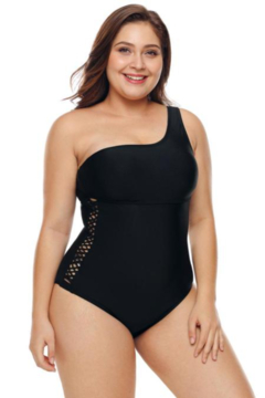 The Emerald Fox Boutique One Shoulder Grid Cutout Side Plus Size Maillot Swimwear - Product List Image