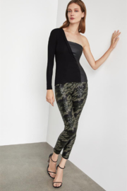BCBG Max Azria One Shoulder Knit/Leather Top - Product Mini Image