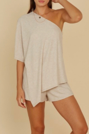 blue blush One Shoulder Knit Top - Product Mini Image