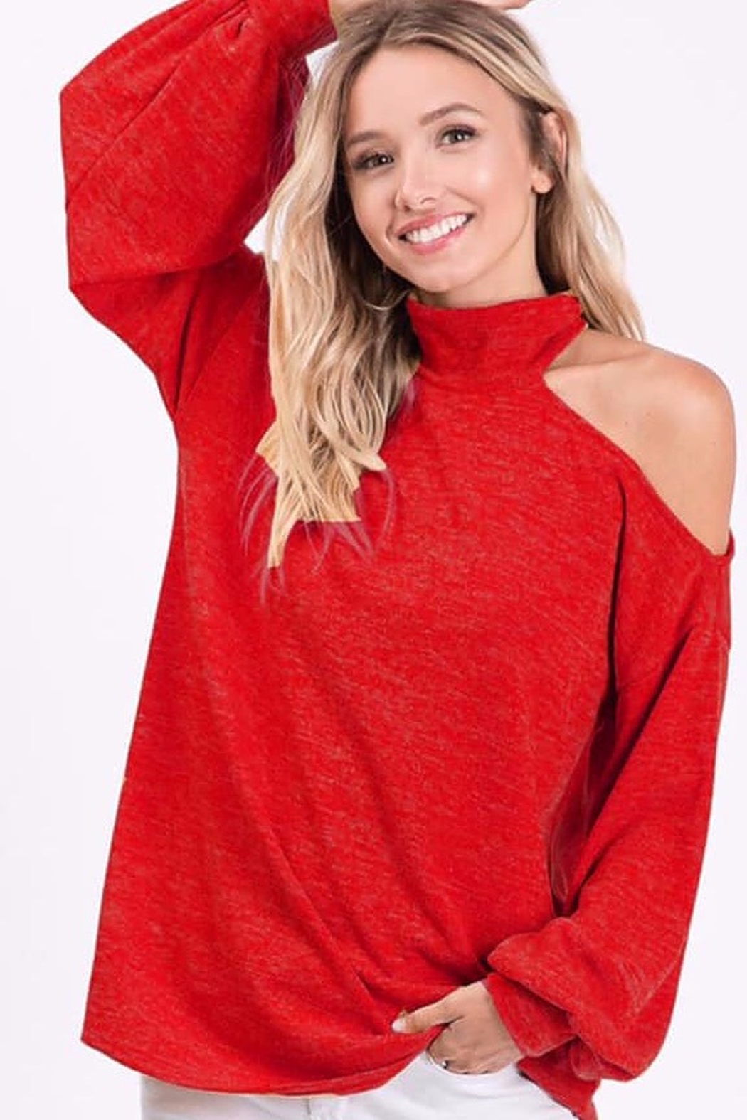 Bibi One Shoulder Knit Top With Bubble Sleeve - Front Cropped Image