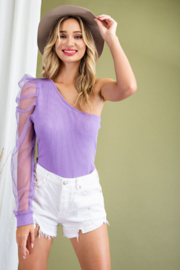 eesome One Shoulder Mesh Sleeve Bodysuit - Front cropped