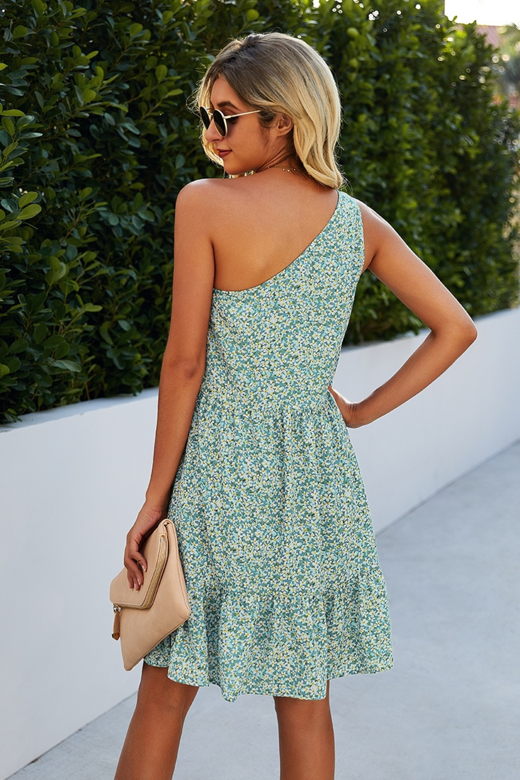 Lyn -Maree's One Shoulder Print Dress - Front Full Image