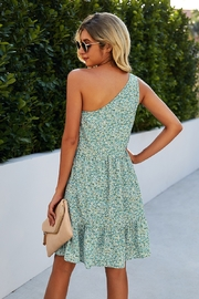 Lyn -Maree's One Shoulder Print Dress - Front full body