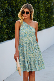 Lyn -Maree's One Shoulder Print Dress - Front cropped