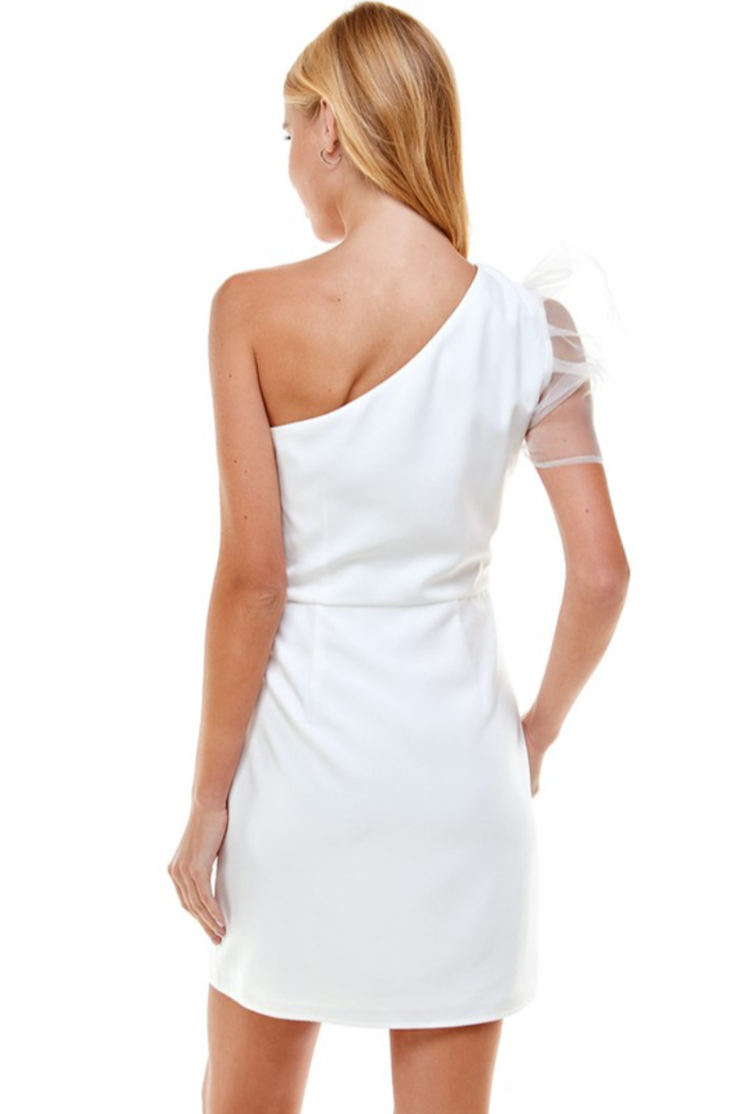 TCEC One Shoulder Puff Sleeve Dress - Side Cropped Image