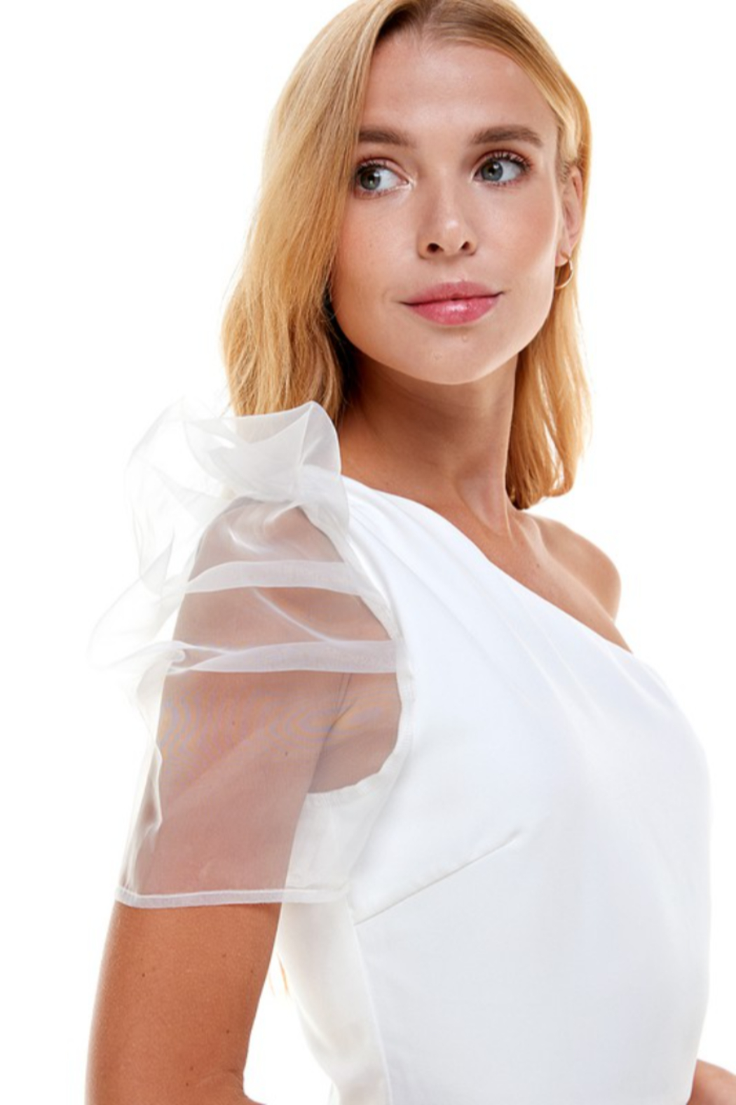 TCEC One Shoulder Puff Sleeve Dress - Back Cropped Image