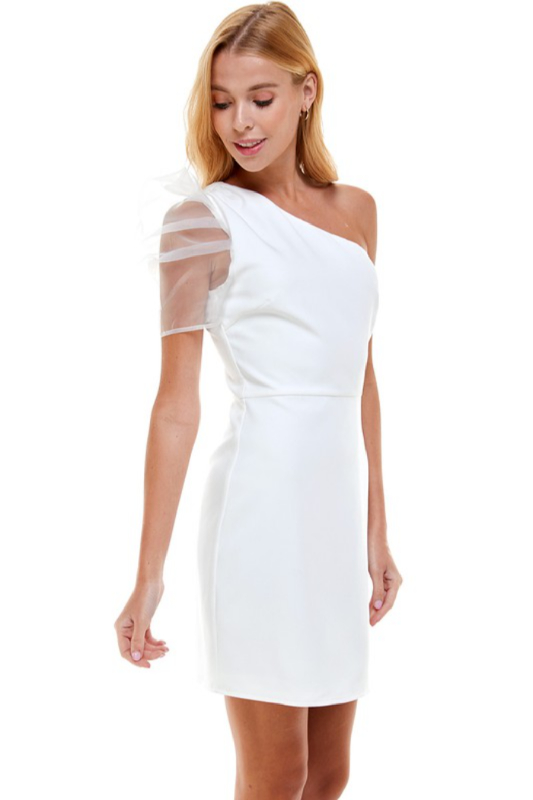 TCEC One Shoulder Puff Sleeve Dress - Front Full Image