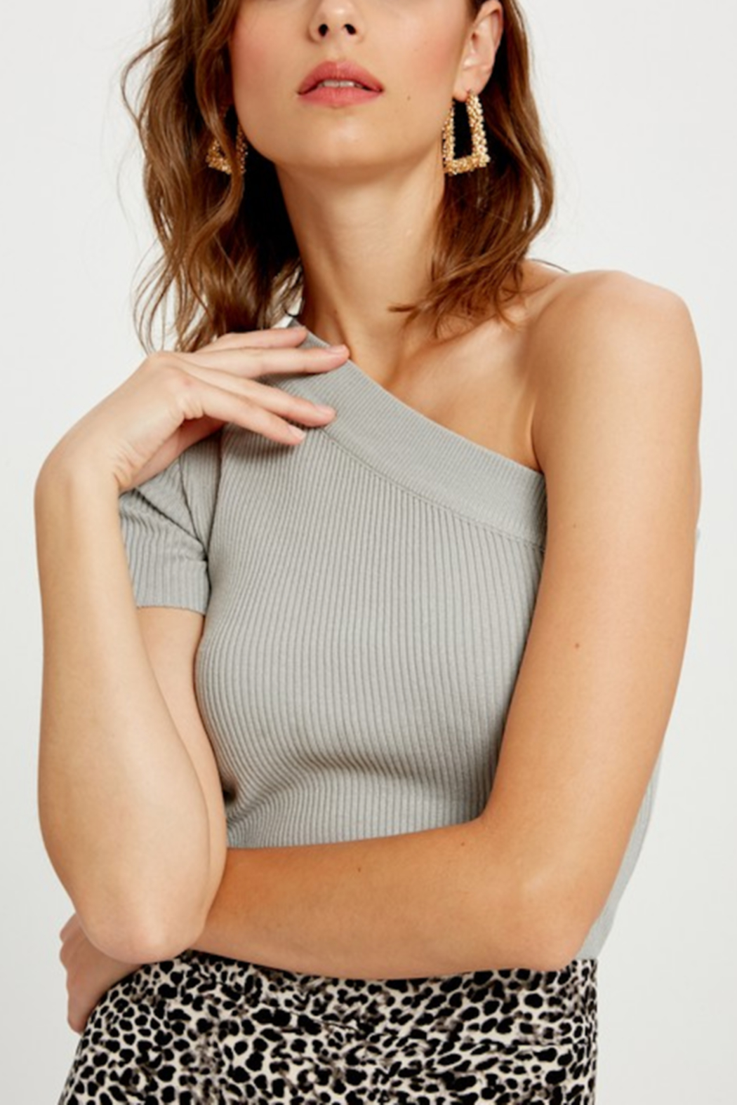 Wishlist One Shoulder Ribbed Knit Top - Front Cropped Image