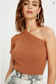 Wishlist One Shoulder Ribbed Knit Top - Front cropped