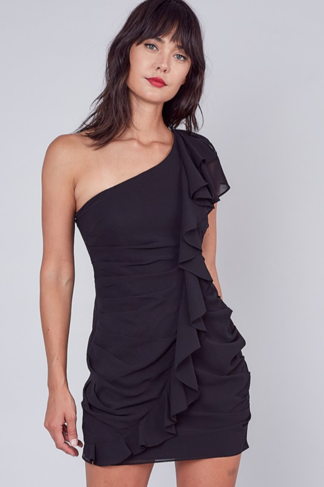 Do + Be  One Shoulder Ruffle Dress - Front Cropped Image