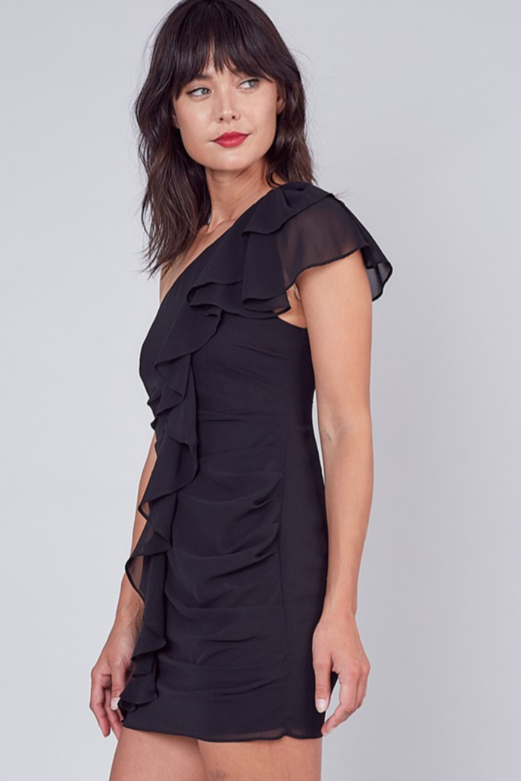 Do + Be  One Shoulder Ruffle Dress - Front Full Image