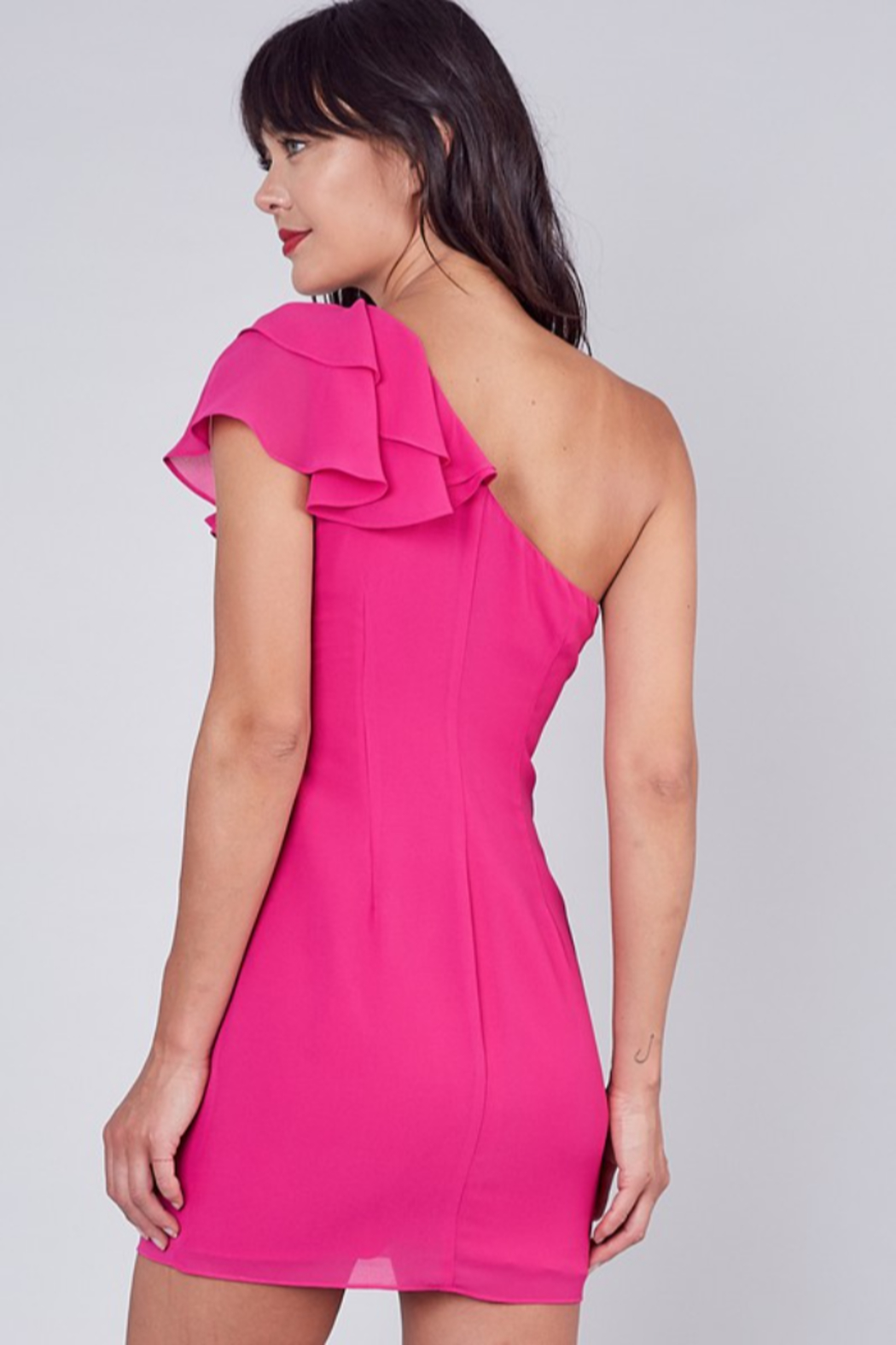 Do + Be  One Shoulder Ruffle Dress - Side Cropped Image