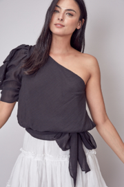 Do + Be  One shoulder ruffle top - Front cropped
