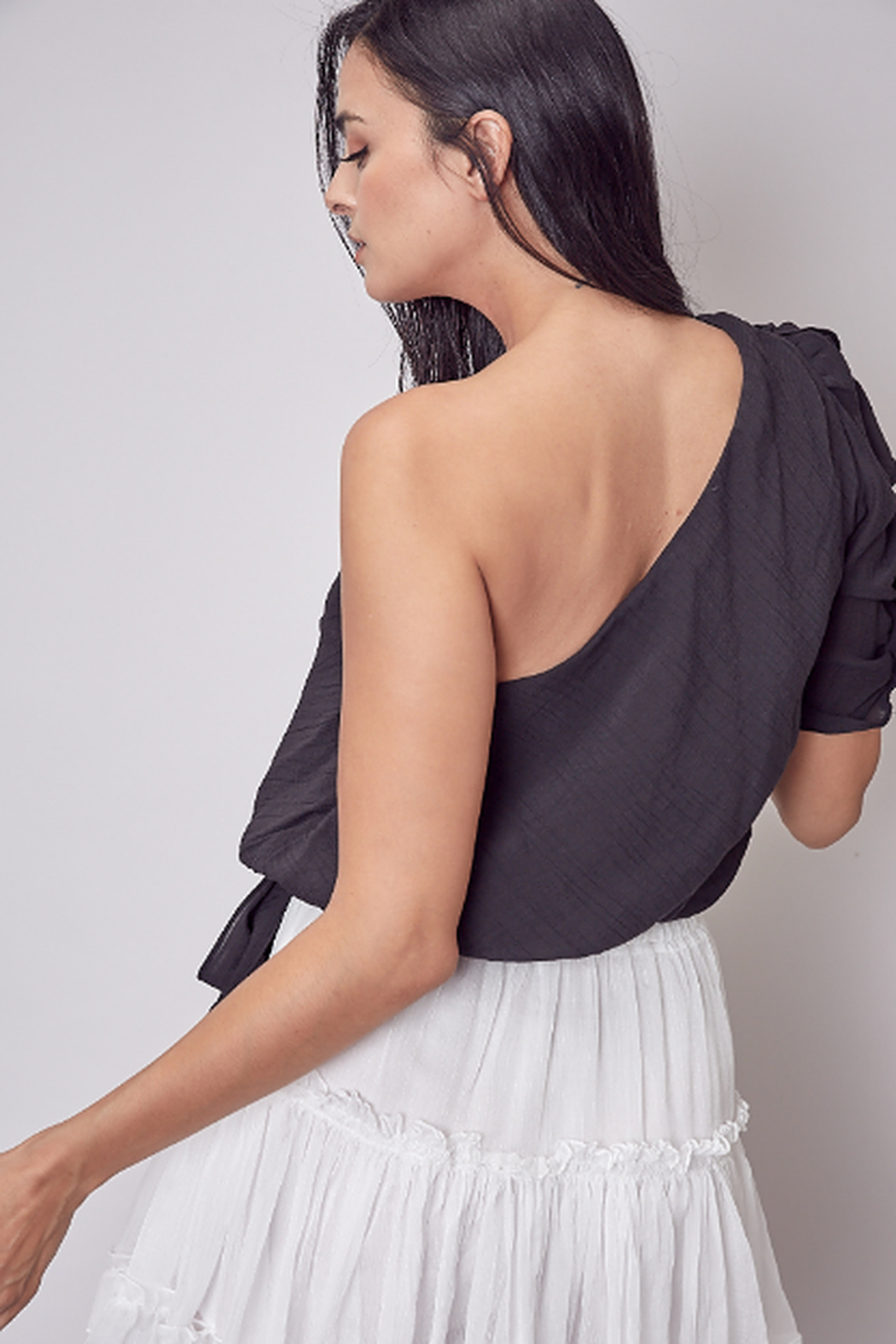 Do + Be  One shoulder ruffle top - Front Full Image
