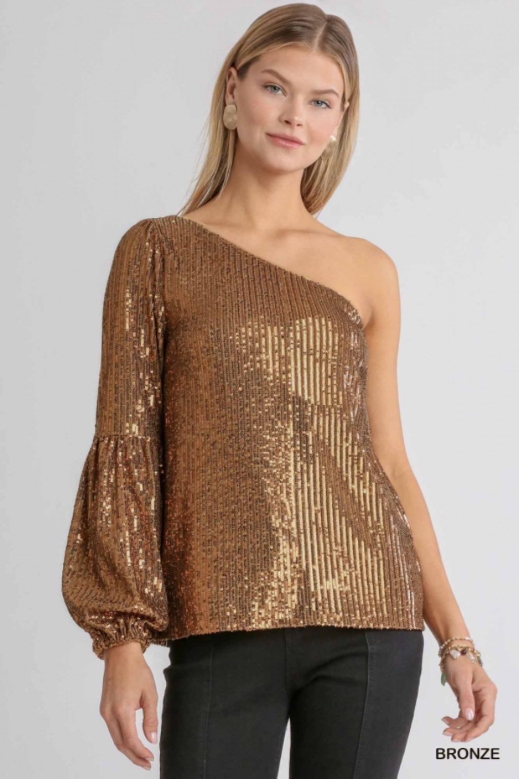 umgee  One shoulder Sequin Cocktail Top - Front Cropped Image