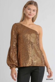 umgee  One shoulder Sequin Cocktail Top - Front cropped