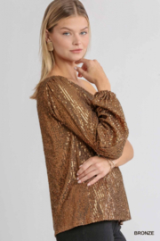 umgee  One shoulder Sequin Cocktail Top - Side cropped