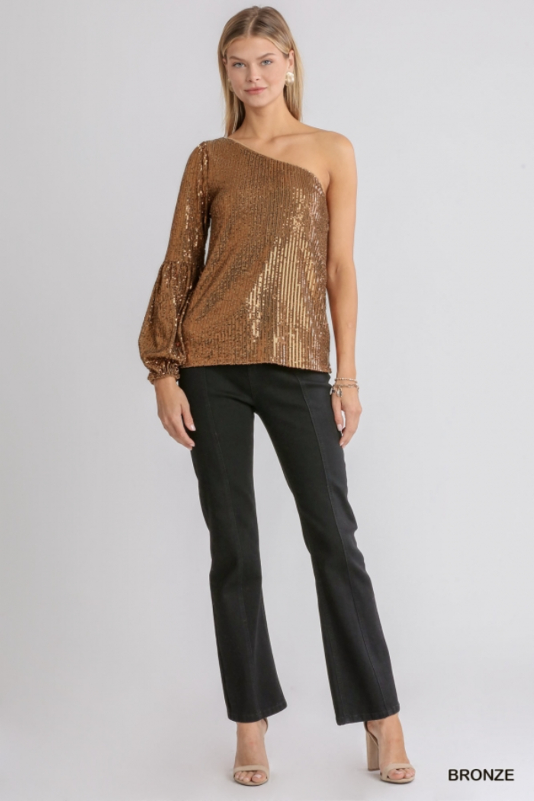 umgee  One shoulder Sequin Cocktail Top - Front Full Image