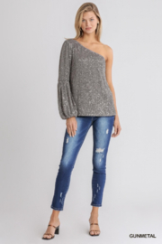 umgee  One shoulder Sequin Cocktail Top - Front full body