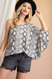 eesome One Shoulder Snake Print Top - Product Mini Image