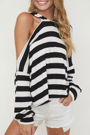 Fantastic Fawn One-Shoulder Striped Hoodie - Product Mini Image