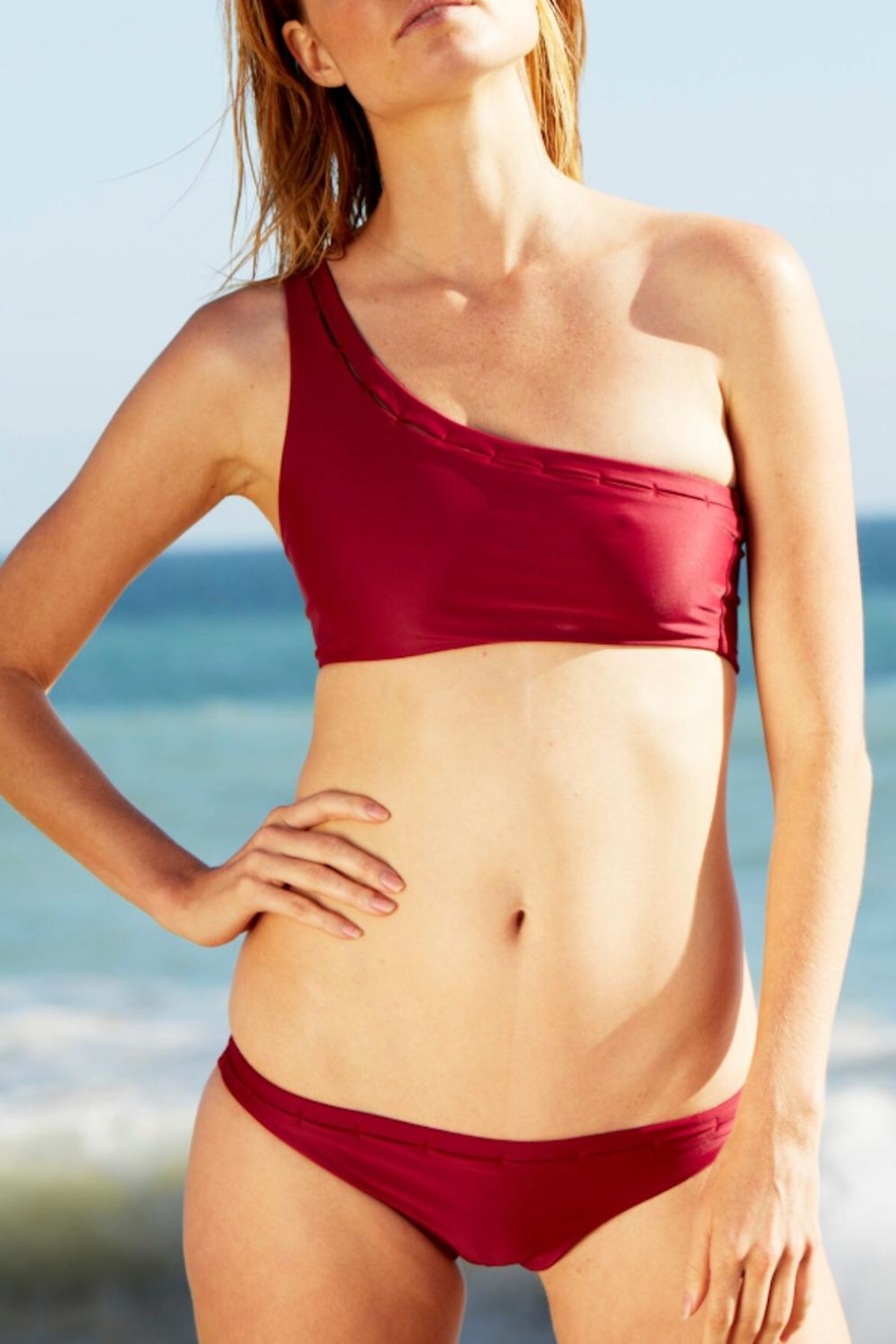 Cami and Jax One-Shoulder Swim Top - Back Cropped Image