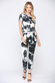 Fate Inc. One Shoulder Tie Dye Jumpsuit - Front cropped