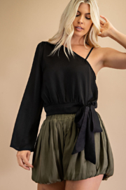 Glam One Shoulder Tied Blouse - Product Mini Image