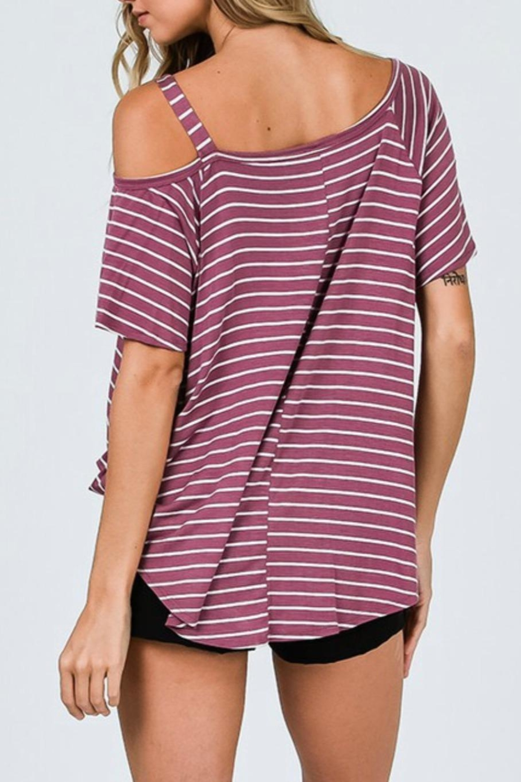 CY Fashion One Shoulder Top - Back Cropped Image
