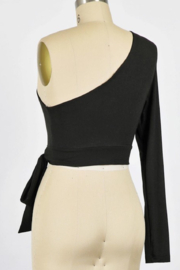Final Touch One Sleeve Side Tie Top - Front full body