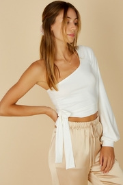 blue blush Balloon Sleeve Side Tie Top - Product Mini Image