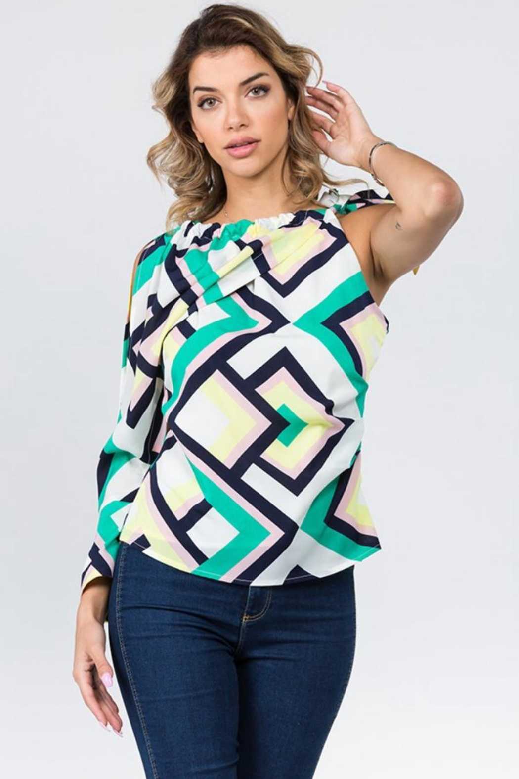 Lulumari One Sleeve Top - Front Cropped Image