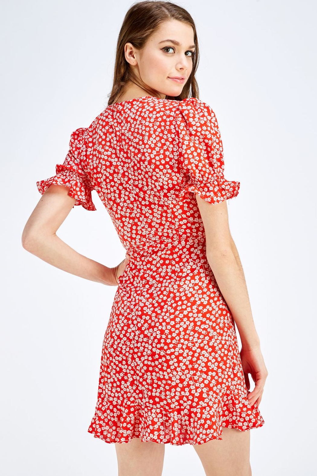 one & only Red Floral Dress - Back Cropped Image