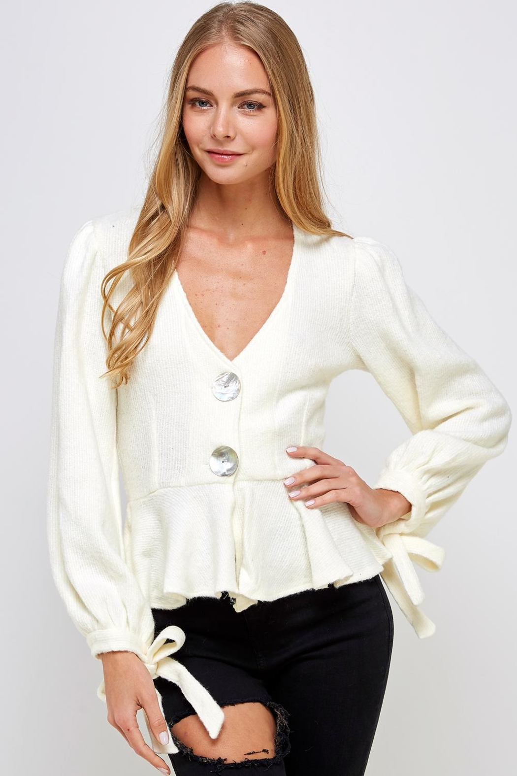 one & only Ruffle Bottom Sweater - Front Full Image