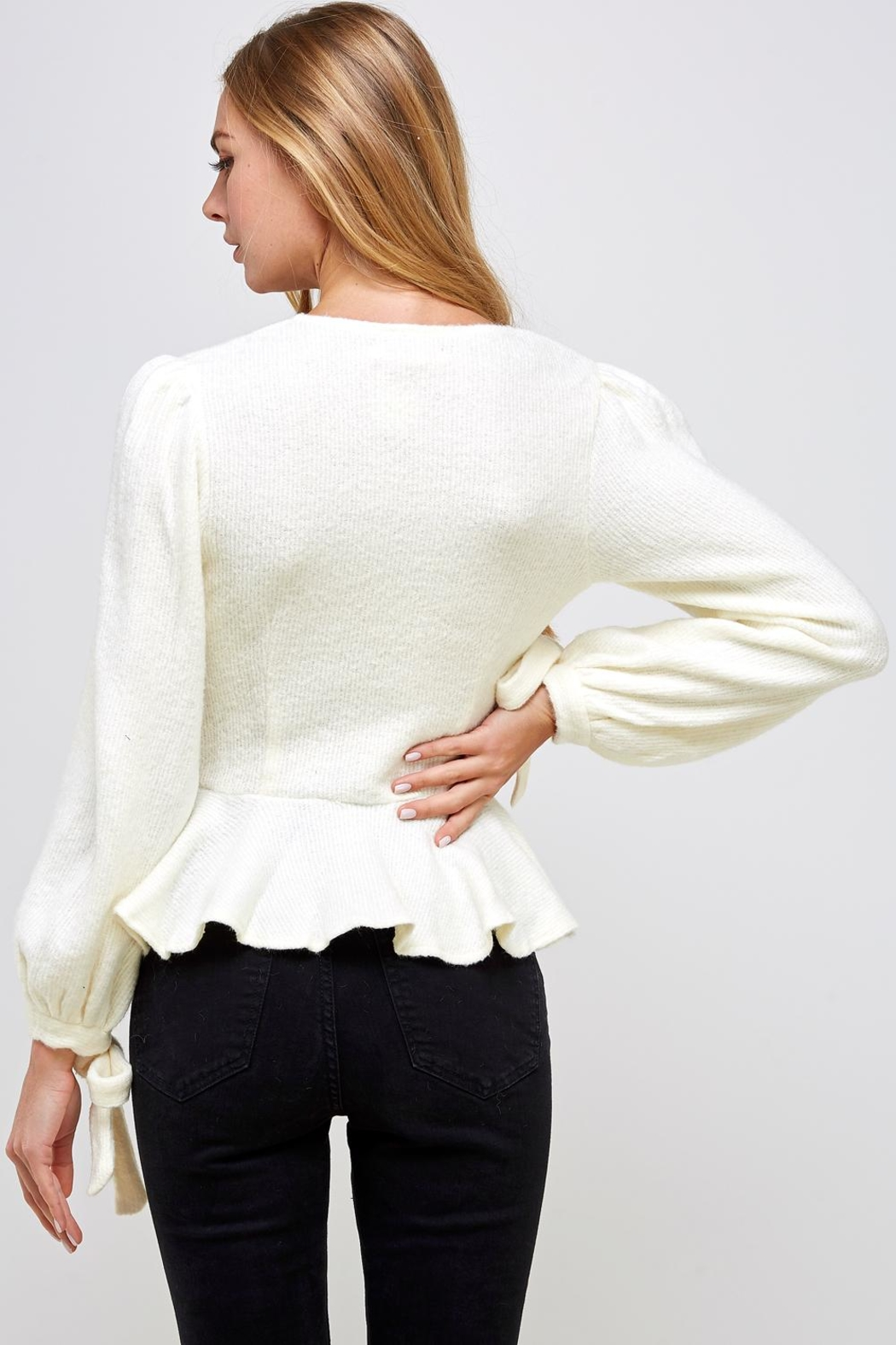 one & only Ruffle Bottom Sweater - Back Cropped Image