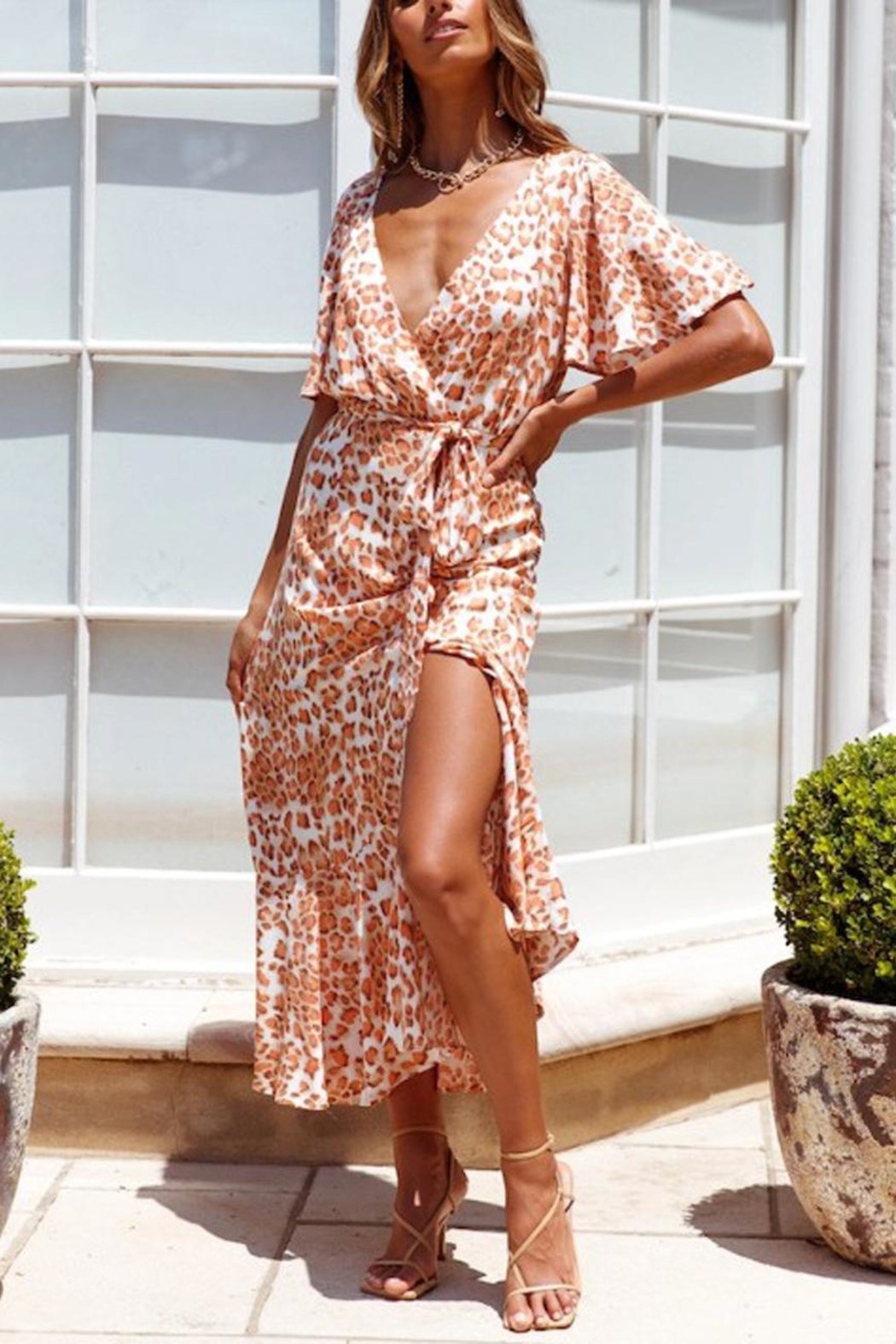 ONE AND ONLY COLLECTIVE Leopard-Print Maxi Dress - Front Full Image