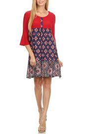 One Fashion Red Print Dress - Product Mini Image