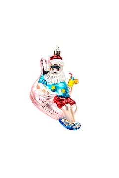 One Hundred 80 Degrees Flamingo Santa Ornament - Product List Image