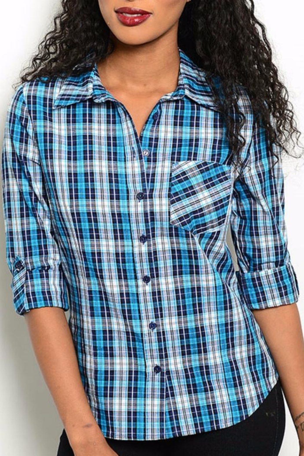 One Story Blue Plaid Top - Main Image