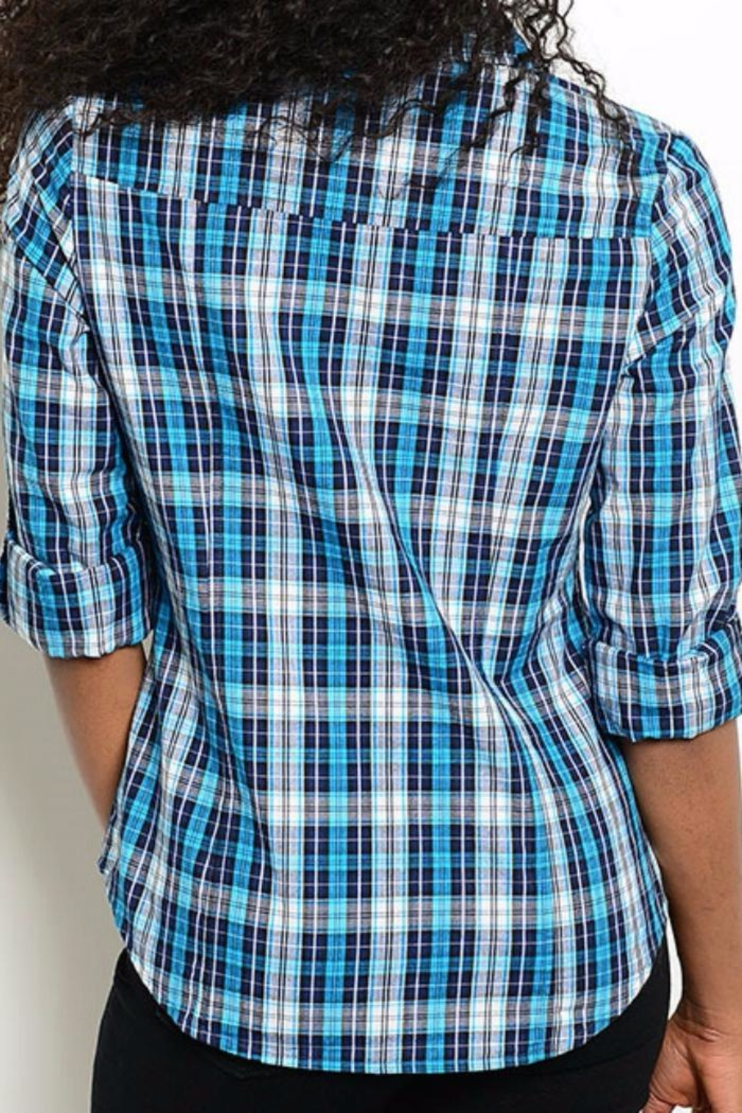 One Story Blue Plaid Top - Front Full Image