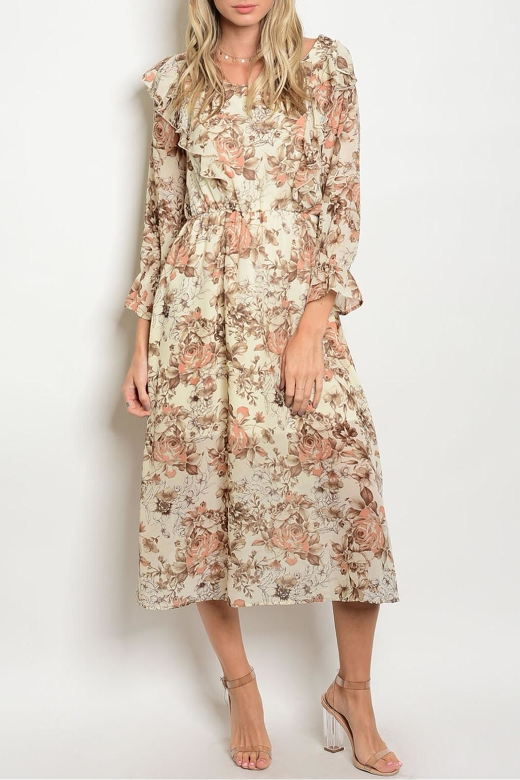 One Story Autumn Floral Ruffle Dress - Main Image