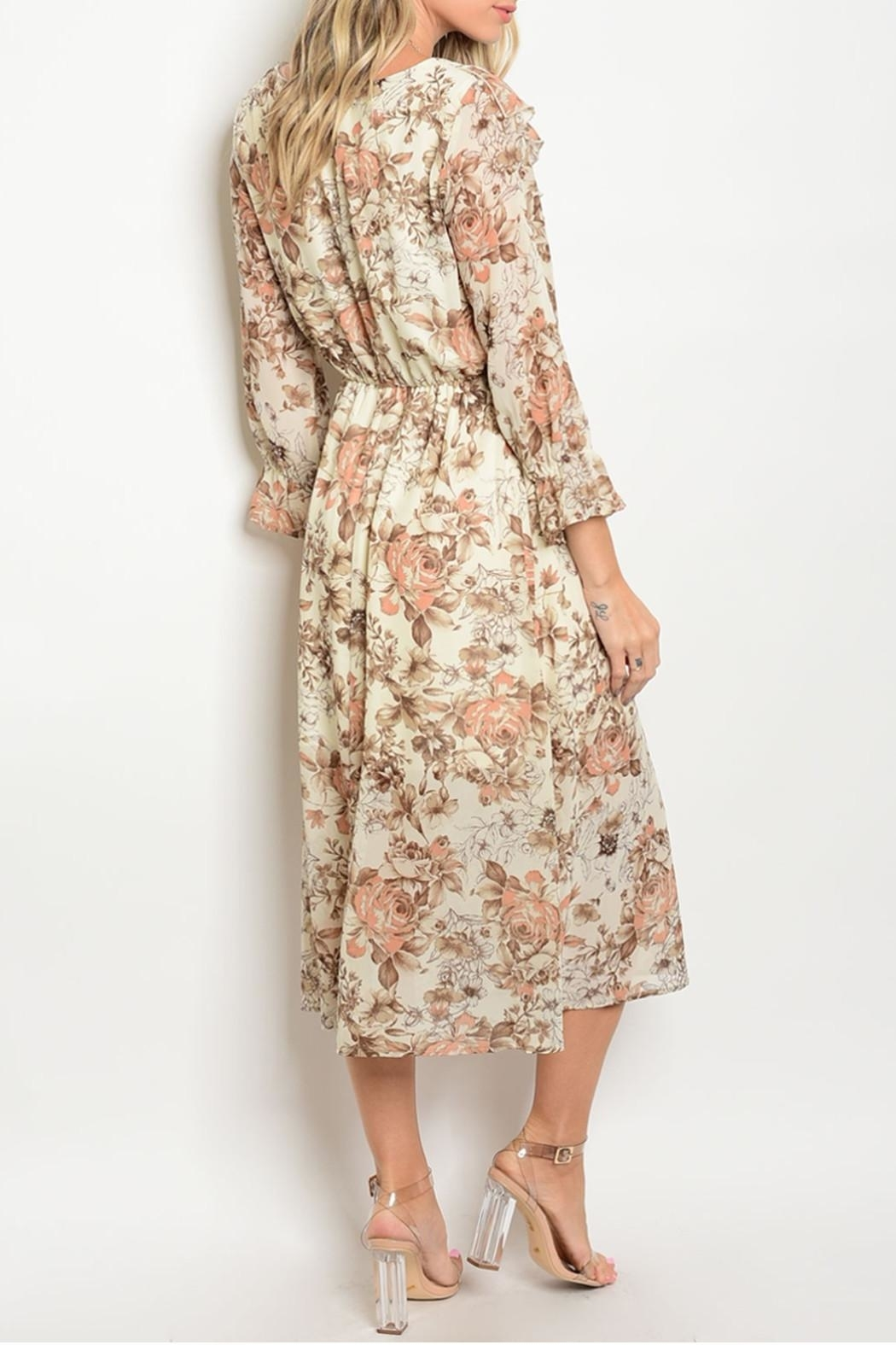 One Story Autumn Floral Ruffle Dress - Front Full Image