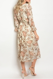 One Story Autumn Floral Ruffle Dress - Front full body