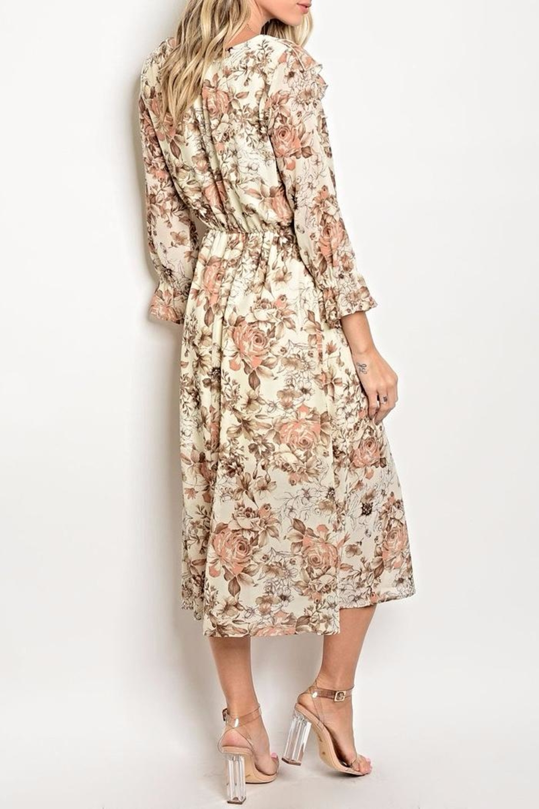 One Story Floral Midi Dress - Front Full Image