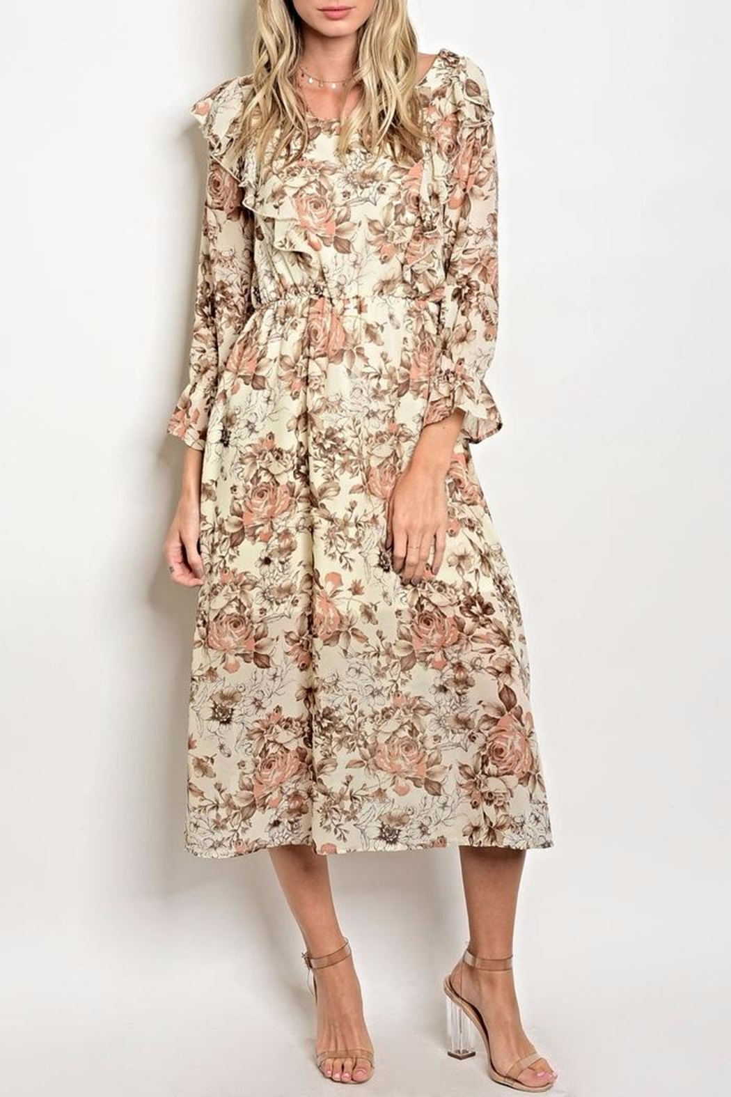 One Story Floral Midi Dress - Main Image