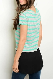 One Story Mint Tunic Top - Front full body