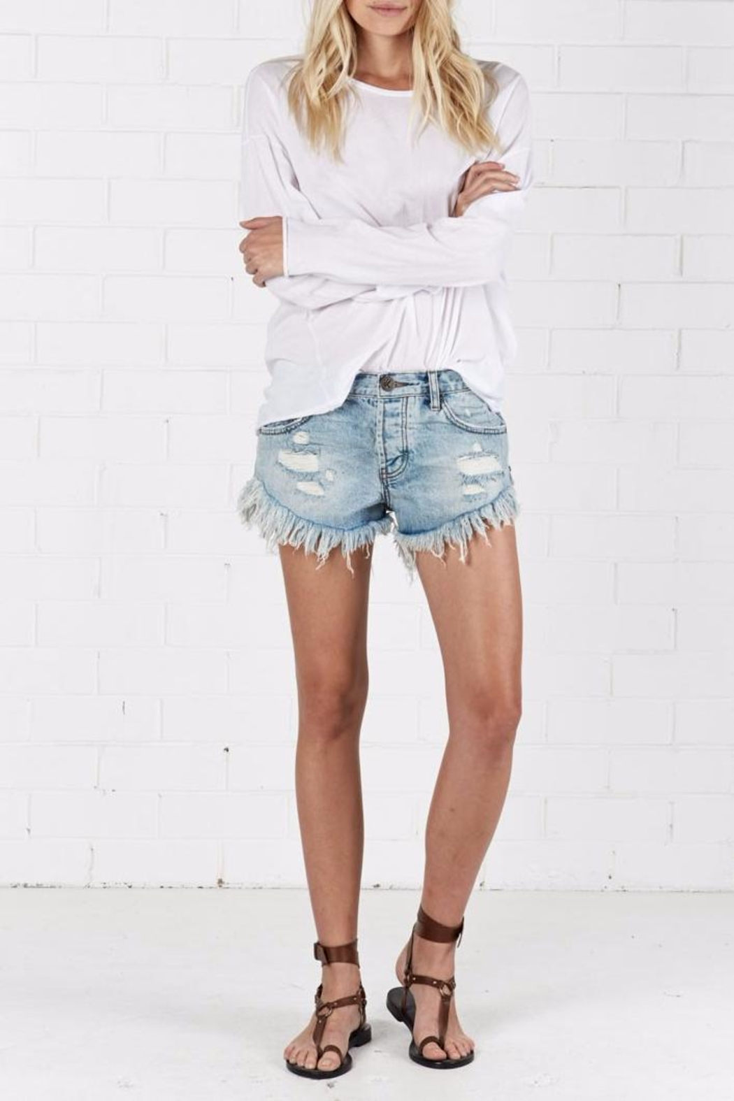 One Teaspoon Blue Hart Brandos Shorts - Side Cropped Image