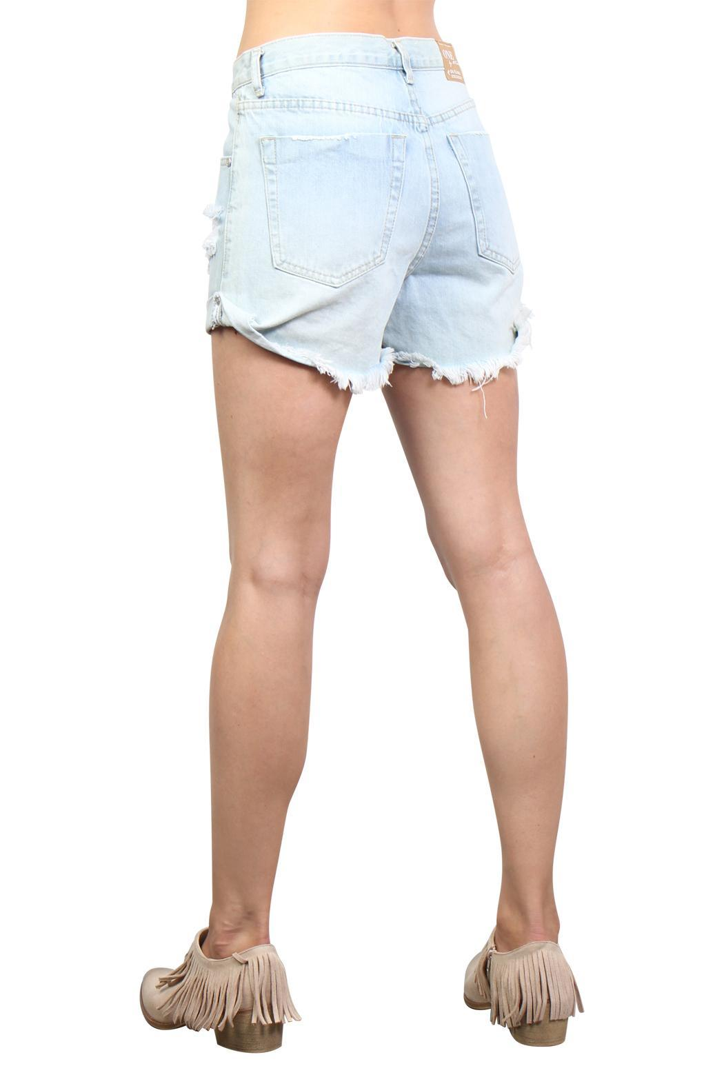 One Teaspoon Wilde Outlaw Denim Shorts - Back Cropped Image