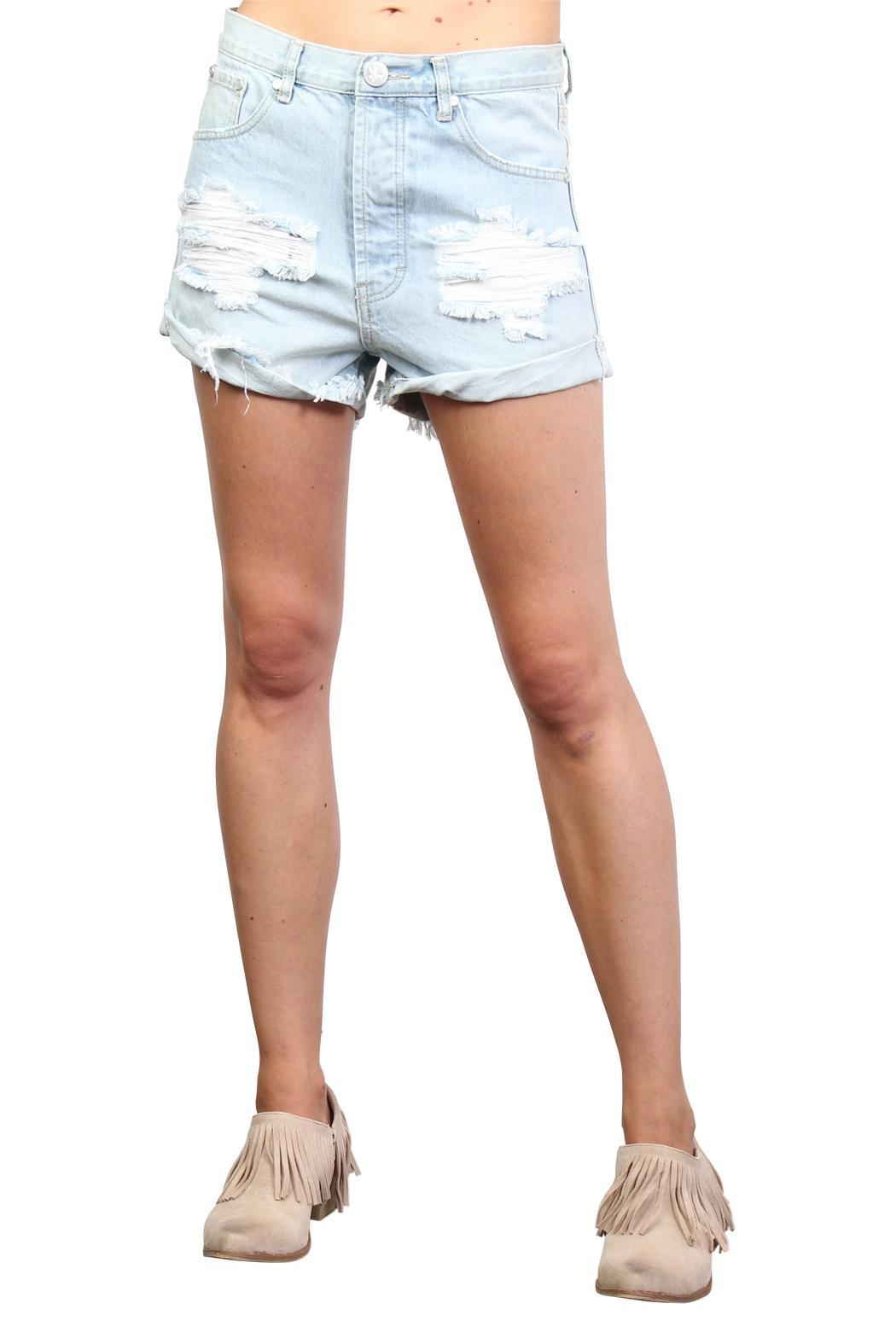One Teaspoon Wilde Outlaw Denim Shorts - Front Full Image