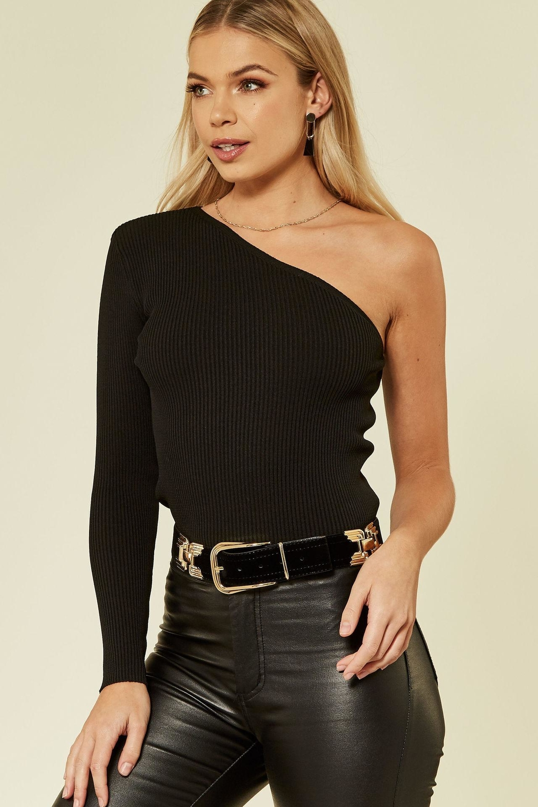Urban Touch Oneshoulder Knitted Top - Front Full Image